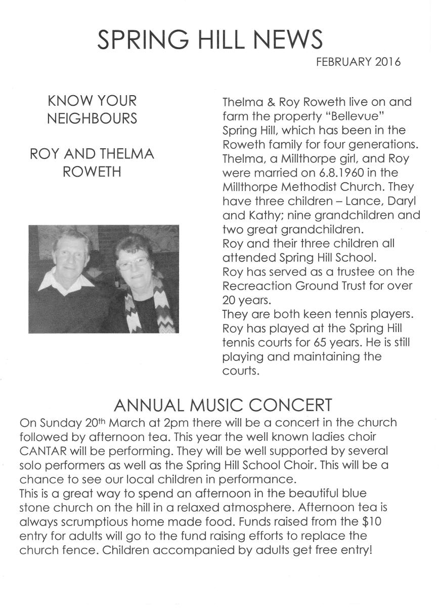 Spring Hill newsletter - page 1