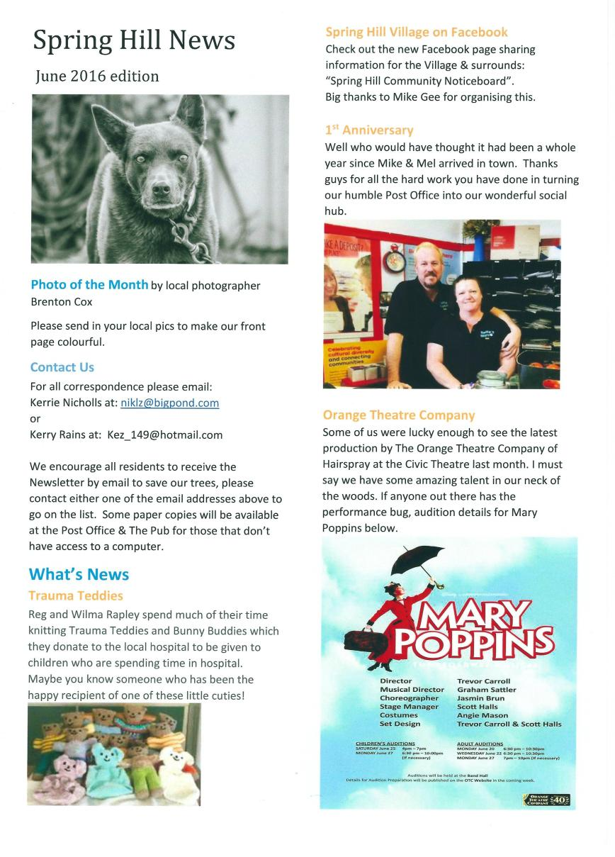 Spring Hill Newsletter - June 16 - page 1