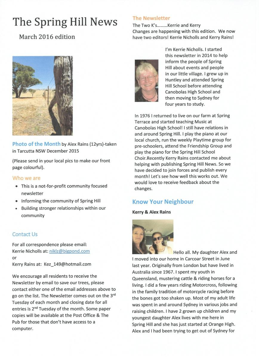 Spring Hill Newsletter - March - P1