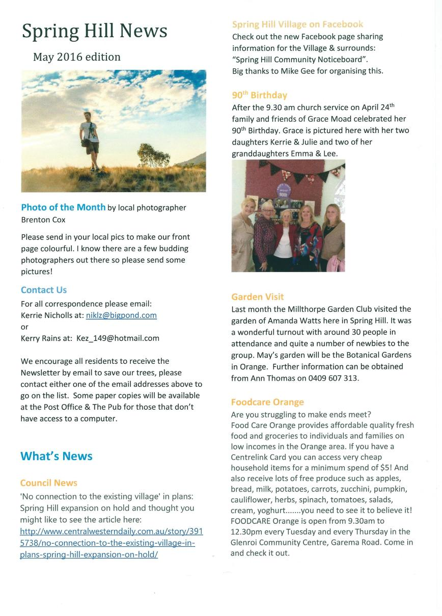 Spring Hill newsletter - May 2016 - Page 1