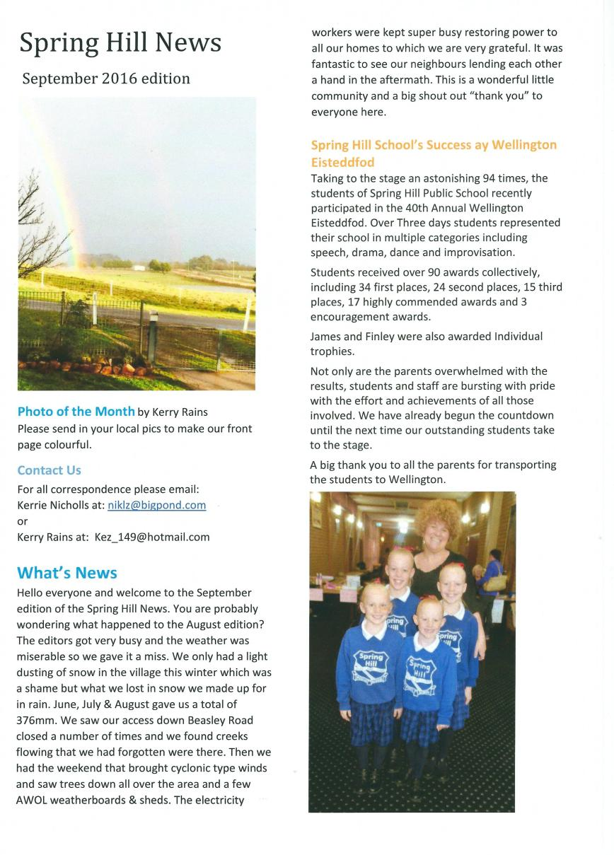 Spring Hill newsletter - Page 1 - Sept 16
