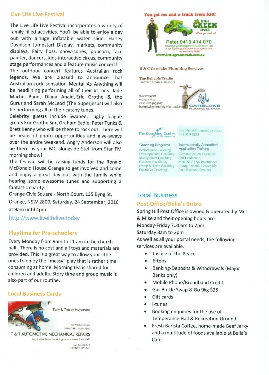Spring Hill newsletter - Page 3 - Sept 16