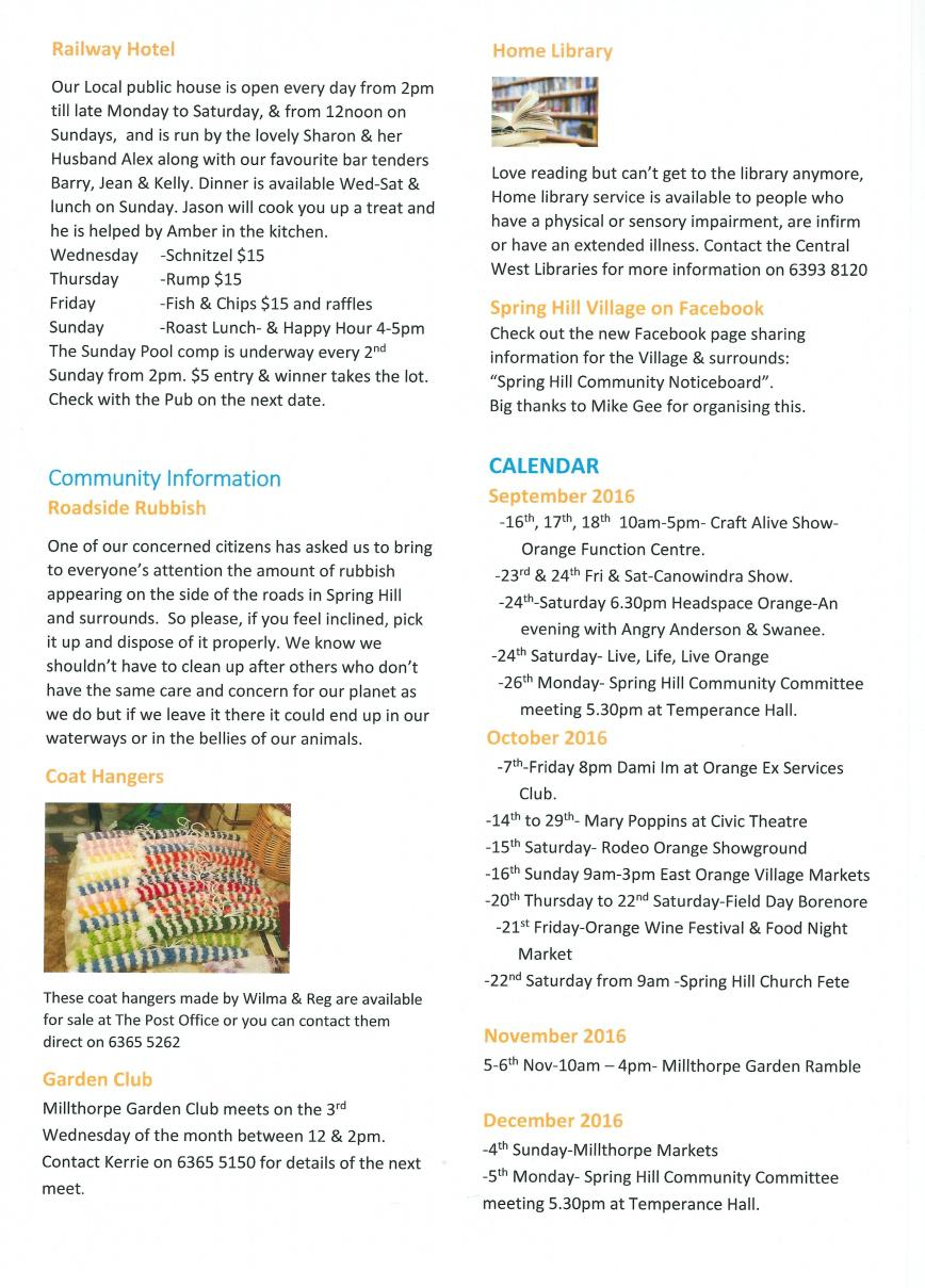 Spring Hill newsletter - Page 4 - Sept 16